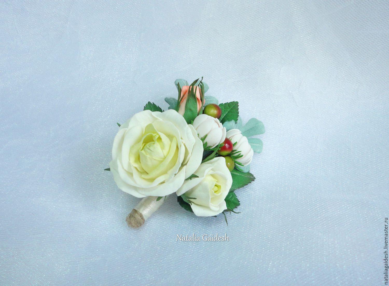 Свадебная бутоньерка из фоамирана