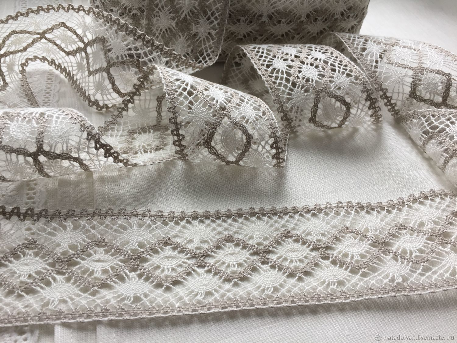 Lace linen 'Prosa white-grey 65mm', Lace, Ivanovo,  Фото №1