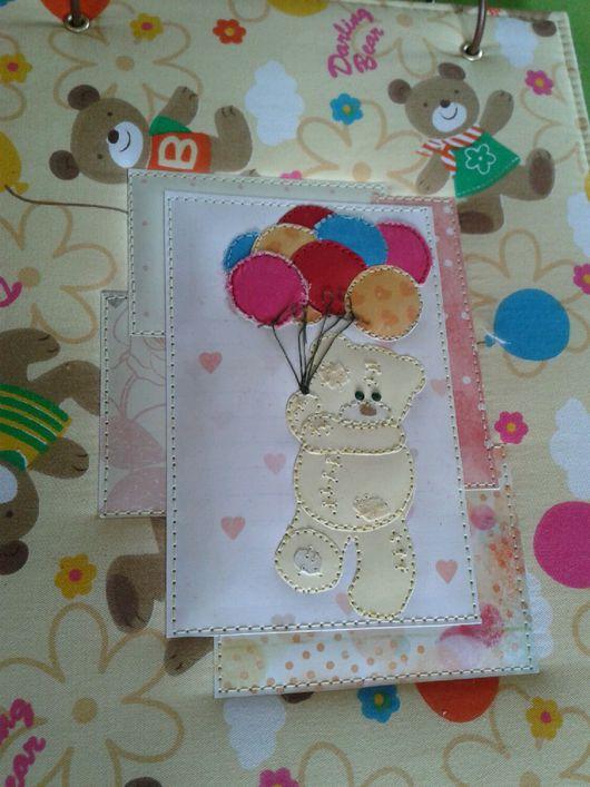 """Папки для бумаг ручной работы. Ярмарка Мастеров - ручная работа. Купить Папка для рисунков """"Мишки"""". Handmade. Папка, шарики, картон"""