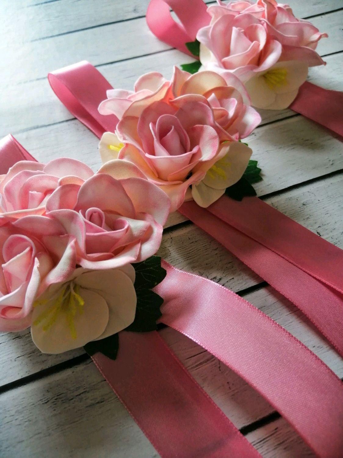 Браслеты для подружек невесты в цвете пудра, Цветы, Самара,  Фото №1