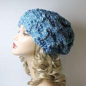 Аксессуары handmade. Livemaster - original item Knitted beanie boho hat openwork blue mottled. Handmade.
