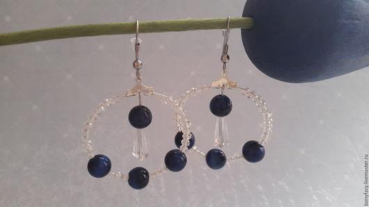 Серьги ручной работы. Ярмарка Мастеров - ручная работа. Купить Серьги - кольца из натуральных камней. Handmade. Комбинированный, стильное украшение