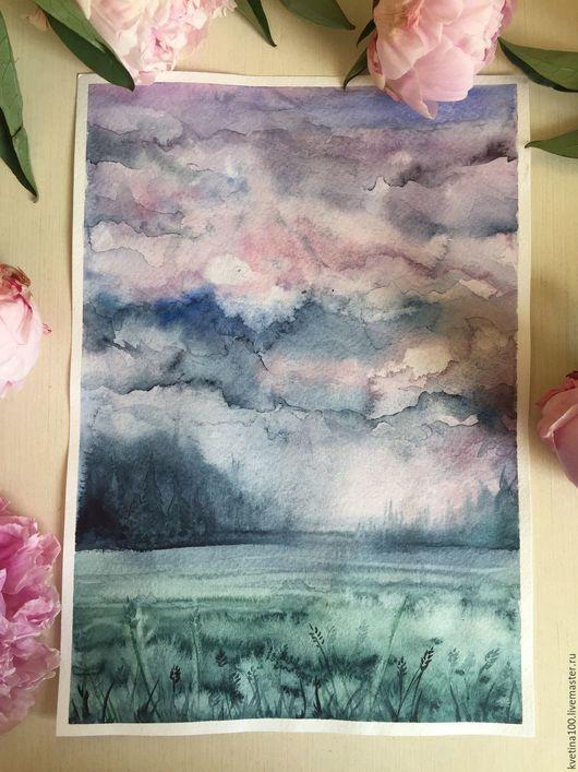 """Пейзаж ручной работы. Ярмарка Мастеров - ручная работа. Купить Акварельная зарисовка """"Розовые облака"""". Handmade. Комбинированный, акварельная картина"""