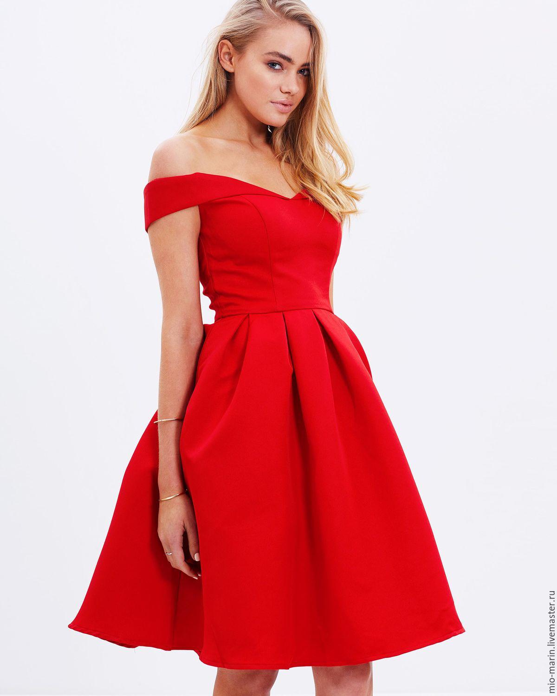 Красное платье вечернее короткое