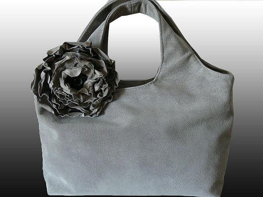 Handbags handmade. Livemaster - handmade. Buy Bag and brooch. 'Gray poppy' (XL).Grey, with