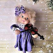 """Елочные игрушки ручной работы. Ярмарка Мастеров - ручная работа Ватная ёлочная игрушка """"Маленькая скрипачка"""". Handmade."""