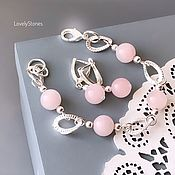 Украшения handmade. Livemaster - original item Bracelet and earrings set with rose quartz natural delicate. Handmade.