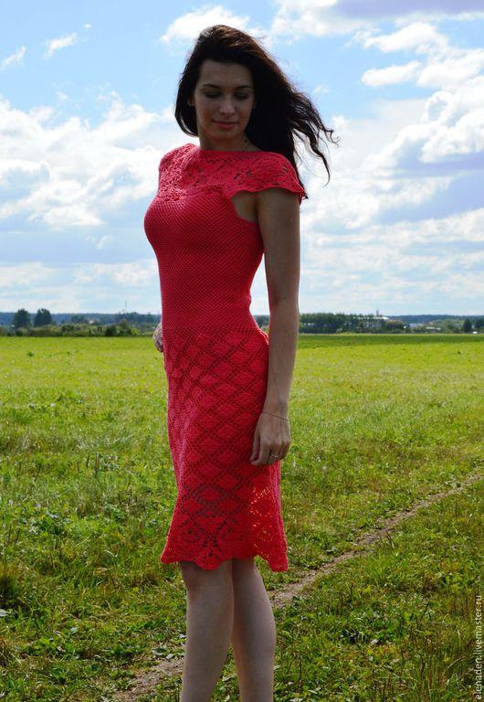 Платья ручной работы. Ярмарка Мастеров - ручная работа. Купить Платье вязаное красное ажурное крючком. Handmade. Ярко-красный