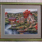 Картины и панно ручной работы. Ярмарка Мастеров - ручная работа Вышитая картина``Осенний вечер``. Handmade.