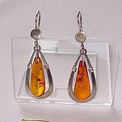 Винтаж handmade. Livemaster - original item Amber Amber drop Earrings Pendants Silver 925 star Vintage USSR. Handmade.