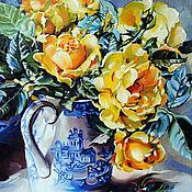 """Картины ручной работы. Ярмарка Мастеров - ручная работа Картины: """"Букетик желтых роз"""".. Handmade."""