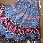 Одежда ручной работы. Ярмарка Мастеров - ручная работа Юбка штапель синяя с розами. Handmade.