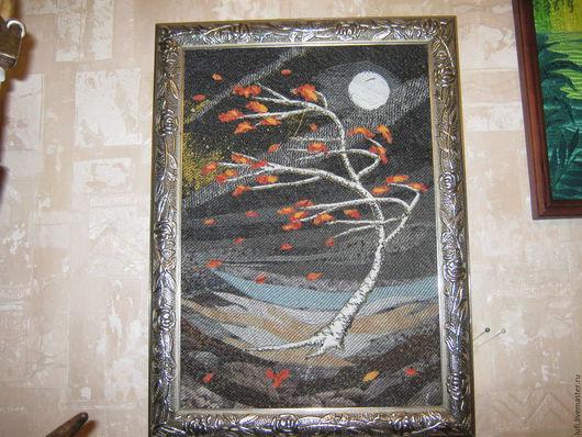 """Пейзаж ручной работы. Ярмарка Мастеров - ручная работа. Купить Квилт """"Буря"""". Handmade. Черный, квилт, оранжевый, ночь, осень"""