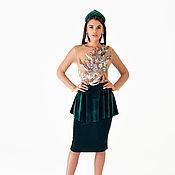 Dresses handmade. Livemaster - original item Stylish velvet dress in the emerald color.. Handmade.