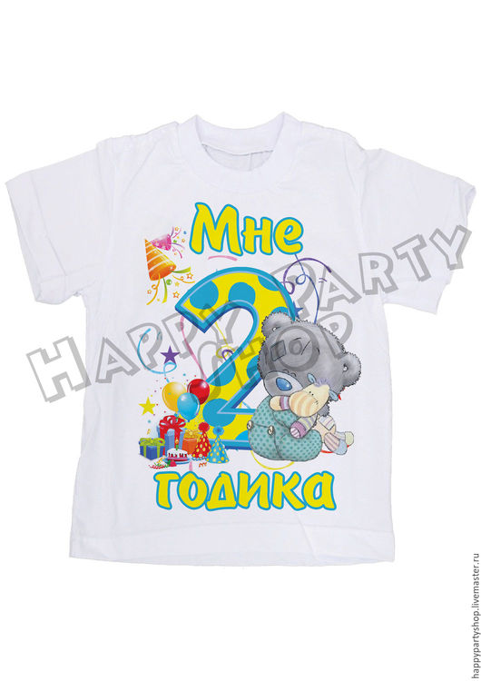 Одежда для мальчиков, ручной работы. Ярмарка Мастеров - ручная работа. Купить Именная футболка на 2 годика Мишка Тедди. Handmade.
