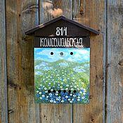 """Почтовый ящик""""Летний день""""ромашки,васильки,коричневый,синий,белый"""