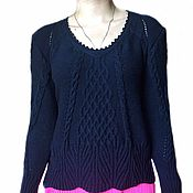 Одежда handmade. Livemaster - original item Women`s sweater knitting Aran patterns, blue, braids, Merino wool. Handmade.
