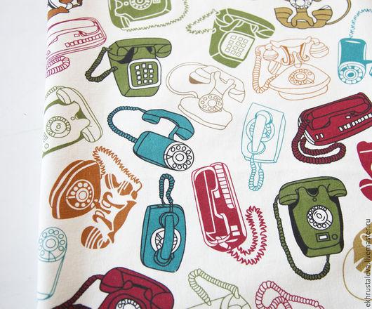 Шитье ручной работы. Ярмарка Мастеров - ручная работа. Купить Винтажный лен Телефоны. Handmade. Для детской, материал для сумок