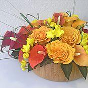 """Цветы и флористика ручной работы. Ярмарка Мастеров - ручная работа """"Листопад""""  (Каллы с английскими розами). Handmade."""