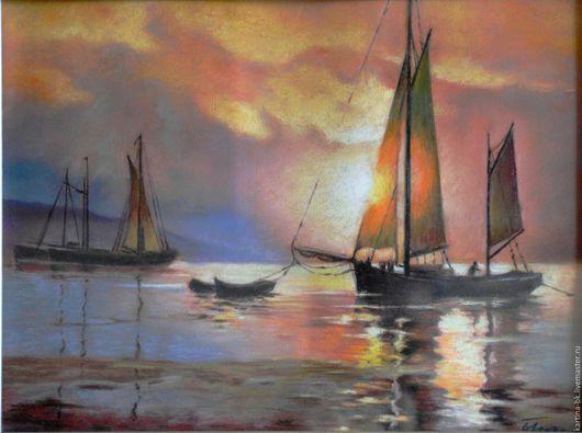 Пейзаж ручной работы. Ярмарка Мастеров - ручная работа. Купить Утро на море. Handmade. Утро, восход солнца, сухая пастель