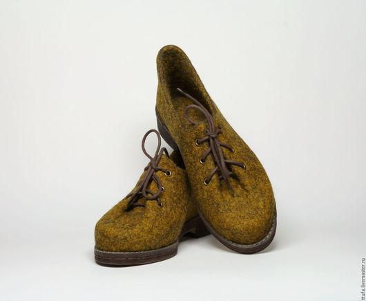 """Обувь ручной работы. Ярмарка Мастеров - ручная работа. Купить Валяные туфли для улицы или помещений """"Дижон"""". Handmade. Комбинированный"""