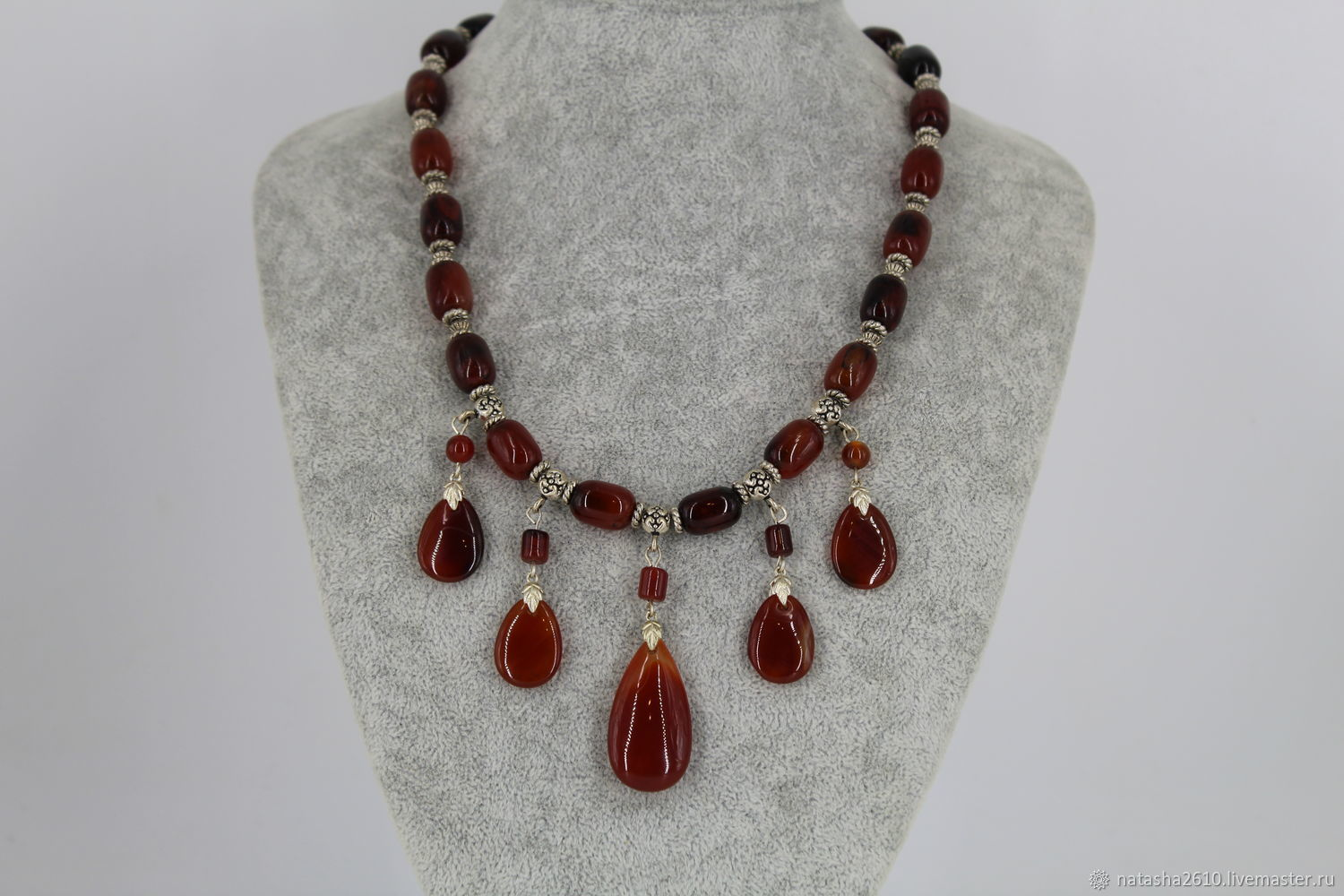 Necklace made of natural stones 'Amber agate', Necklace, Velikiy Novgorod,  Фото №1