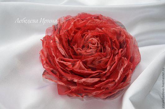 Броши ручной работы. Ярмарка Мастеров - ручная работа. Купить Цветы из шелка. Роза. Handmade. Цветы из шелка, брошь