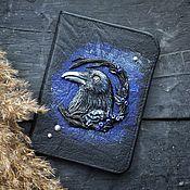 Сумки и аксессуары handmade. Livemaster - original item Cover for a passport with the Raven. Handmade.