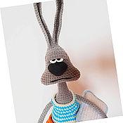 Мягкие игрушки ручной работы. Ярмарка Мастеров - ручная работа Вязаный заяц доброе утро. Handmade.