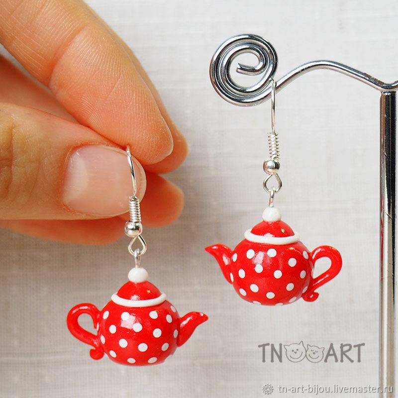 Earrings 'Teapots' red, Earrings, Sochi,  Фото №1