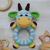 Куклы и игрушки handmade. Livemaster - original item Cow Round rattle on a wooden ring crocheted. Handmade.