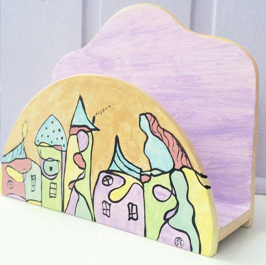 """Кухня ручной работы. Ярмарка Мастеров - ручная работа. Купить """"Город голубых крыш"""" Салфетница. Handmade. Комбинированный, мороженое, салфетница"""