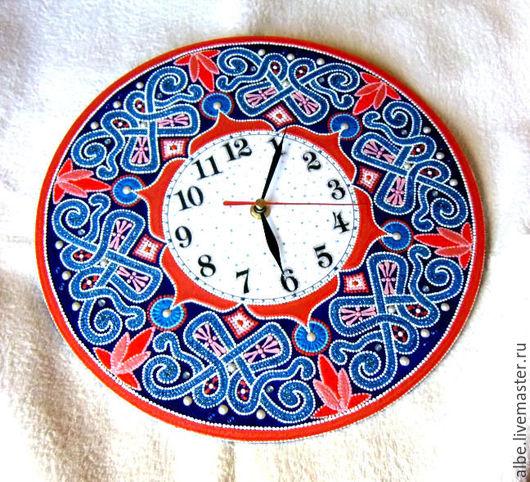 Часы для дома ручной работы. Ярмарка Мастеров - ручная работа. Купить Часы настенные Рето точечная роспись. Handmade.