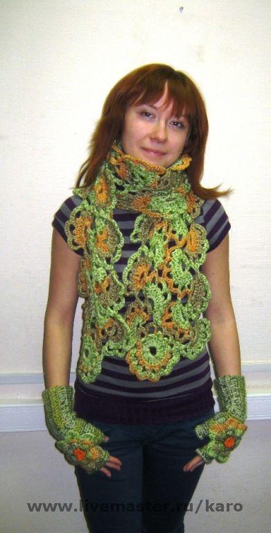 Комплекты аксессуаров ручной работы. Ярмарка Мастеров - ручная работа. Купить комплект шарф + митенки. Handmade.