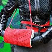 Аксессуары handmade. Livemaster - original item Clutch Bag for hand suede and fur sheepskin shoulder Red. Handmade.