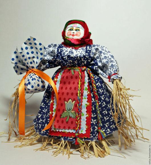 Народные куклы ручной работы. Ярмарка Мастеров - ручная работа. Купить Масленица. Handmade. Тёмно-синий, кукла в подарок, лён