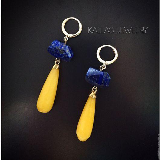 """Серьги ручной работы. Ярмарка Мастеров - ручная работа. Купить Серьги """"Синий и желтый"""". Handmade. Серьги желтые, серьги минимализм"""