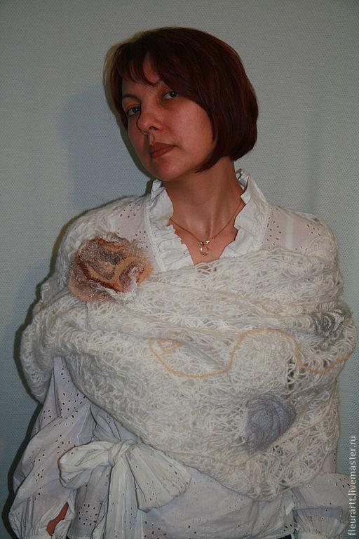 Шарфы и шарфики ручной работы. Ярмарка Мастеров - ручная работа. Купить Белый хомут. Handmade. Белый, 20% акрил