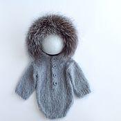 Боди ручной работы. Ярмарка Мастеров - ручная работа Боди с капюшоном и меховой опушкой Для фотосессии новорожденных. Handmade.