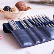 Канцелярские товары handmade. Livemaster - original item Roll for brushes, pencils, pens made of genuine leather Deep Blue. Handmade.