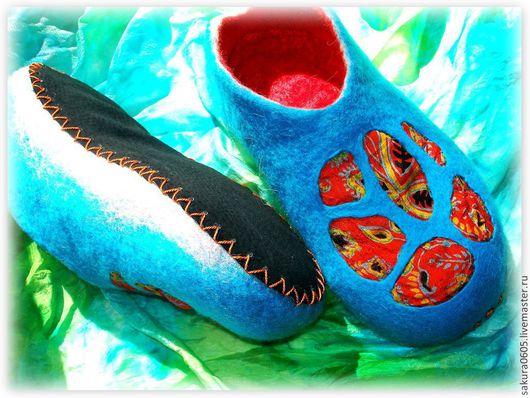 """Обувь ручной работы. Ярмарка Мастеров - ручная работа. Купить Валяные женские тапочки """"ТРОПИКИ"""". Handmade. Бирюзовый, яркий"""