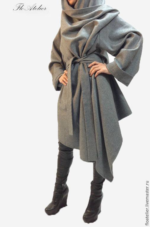 Верхняя одежда ручной работы. Ярмарка Мастеров - ручная работа. Купить Серое длинное пальто из шерсти/Модное пончо/F1101. Handmade. Серый