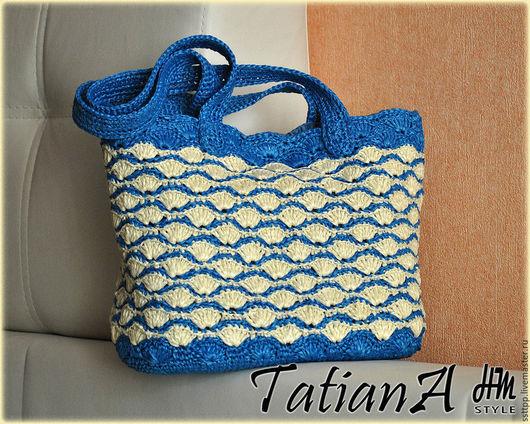 Вязание ручной работы. Ярмарка Мастеров - ручная работа. Купить Инструкция по вязанию сумки в морском стиле ( рафия). Handmade.