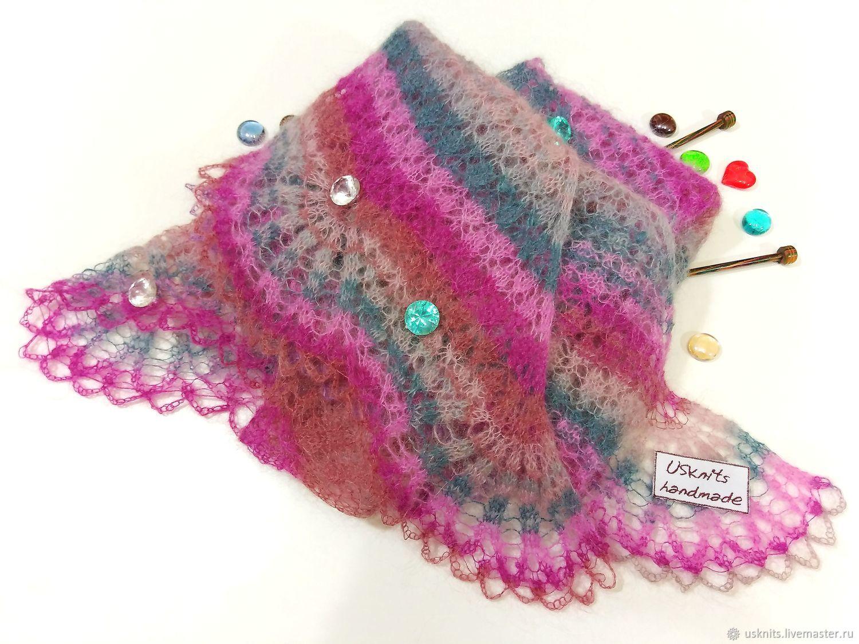 Shawl scarf crocheted openwork mohair, Shawls, Korolev,  Фото №1