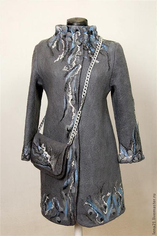 Верхняя одежда ручной работы. Ярмарка Мастеров - ручная работа. Купить Серое пальто с орнаментом +сумочка. Handmade. Серый