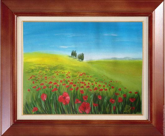 """Пейзаж ручной работы. Ярмарка Мастеров - ручная работа. Купить Картина """"Свет Тосканы"""". Handmade. Разноцветный, пейзаж, картина цветов"""