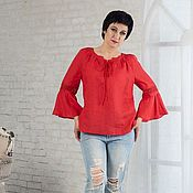 Одежда handmade. Livemaster - original item Linen blouse with lace and red lace-up. Handmade.