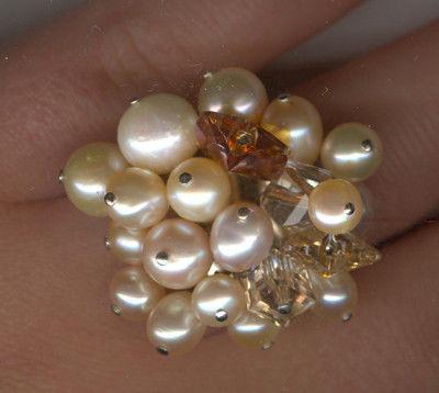 Rings handmade. Livemaster - handmade. Buy ring 'Peach'.Pearl, Swarovski crystals (swarovski), crystals