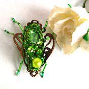 Украшения ручной работы. Ярмарка Мастеров - ручная работа Брошь из бисера жук Зелень лета. Handmade.