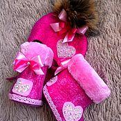 """Обувь ручной работы. Ярмарка Мастеров - ручная работа Валяные сапожки для девочки """"Glitter heart"""". Handmade."""